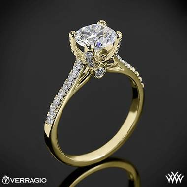 18k Yellow Gold Verragio ENG-0371 4 Prong Petite Pave Diamond Engagement Ring
