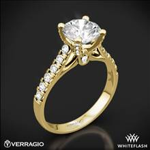 18k Yellow Gold Verragio ENG-0375 4 Prong Pave Diamond Engagement Ring | Whiteflash
