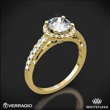 18k Yellow Gold Verragio ENG-0386 Bead-Set Halo Diamond Engagement Ring | Whiteflash