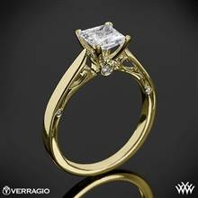 18k Yellow Gold Verragio ENG-0409P 4 Prong Princess Solitaire Engagement Ring | Whiteflash