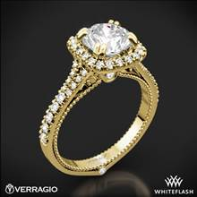 18k Yellow Gold Verragio ENG-0424CU Split Claw Halo Diamond Engagement Ring | Whiteflash