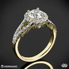 18k Yellow Gold Verragio INS-7010R Split Shank Halo Diamond Engagement Ring | Whiteflash
