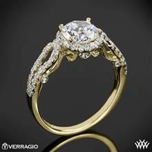 18k Yellow Gold Verragio INS-7042R 4 Prong Round Halo Diamond Engagement Ring | Whiteflash