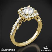 18k Yellow Gold Verragio INS-7047 Cushion Halo Diamond Engagement Ring | Whiteflash