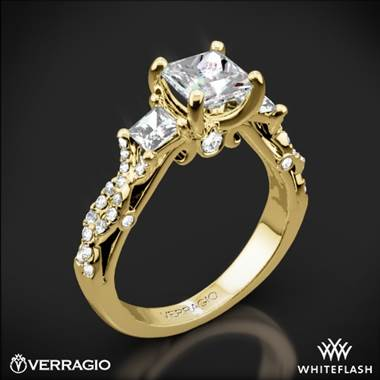 18k Yellow Gold Verragio INS-7055P Twisted Shank Princess 3 Stone Engagement Ring