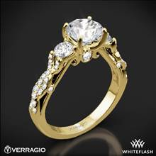 18k Yellow Gold Verragio INS-7055R Twisted Shank 3 Stone Engagement Ring | Whiteflash