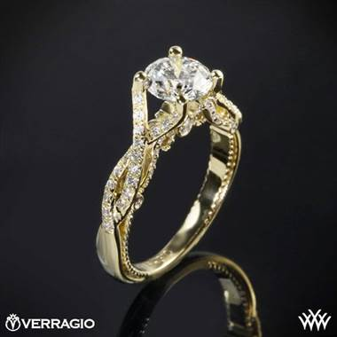 18k Yellow Gold Verragio INS-7060 Intertwined Diamond Engagement Ring