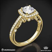 18k Yellow Gold Verragio INS-7061CU Beaded Halo Diamond Engagement Ring | Whiteflash