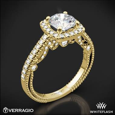 18k Yellow Gold Verragio INS-7061CU Beaded Halo Diamond Engagement Ring