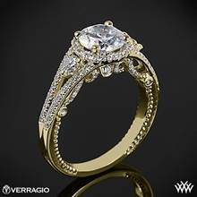 18k Yellow Gold Verragio INS-7068R Domed Bead-Set Diamond Engagement Ring | Whiteflash