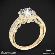 18k Yellow Gold Verragio INS-7069CU Diamond Halo Engagement Ring | Whiteflash