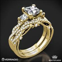 18k Yellow Gold Verragio INS-7074P Braided 3 Stone Wedding Set for Princess | Whiteflash