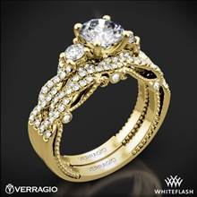 18k Yellow Gold Verragio INS-7074R Braided 3 Stone Wedding Set | Whiteflash