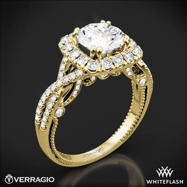 18k Yellow Gold Verragio Insignia INS-7086CU Halo Diamond Engagement Ring