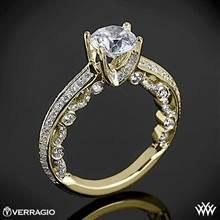 18k Yellow Gold Verragio PAR-3001R Pave Knife-Edge Diamond Engagement Ring | Whiteflash