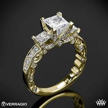 18k Yellow Gold Verragio PAR-3064P Bead-Set Princess 3 Stone Engagement Ring | Whiteflash