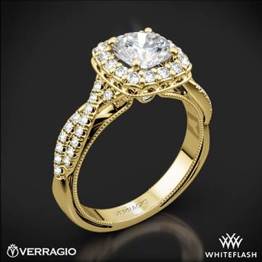 18k Yellow Gold Verragio Renaissance 918CU Halo Diamond Engagement Ring