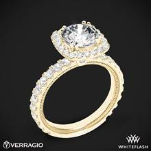 18k Yellow Gold Verragio Tradition TR210HCU Diamond Cushion Halo Engagement Ring | Whiteflash