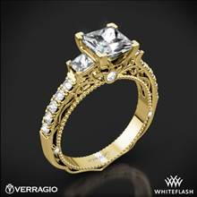 18k Yellow Gold Verragio Venetian Lace AFN-5058P-4 Three Stone Engagement Ring for Princess | Whiteflash