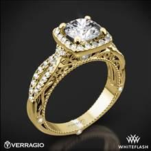 18k Yellow Gold Verragio Venetian Lido AFN-5005CU-2 Cushion Halo Diamond Engagement Ring | Whiteflash