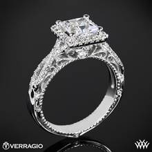 18k Yellow Gold Verragio Venetian Lido AFN-5005P-2 Halo Diamond Engagement Ring for Princess | Whiteflash