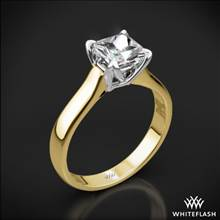 18k Yellow Gold W-Prong Solitaire Engagement Ring for Princess with White Gold Head | Whiteflash