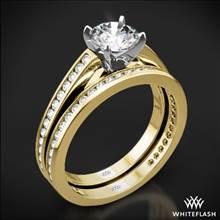 18k Yellow Gold with White Gold Head Honey Channel-Set Diamond Wedding Set | Whiteflash