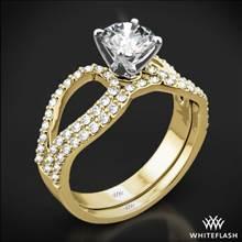 18k Yellow Gold with White Gold Head Infinity Diamond Wedding Set | Whiteflash