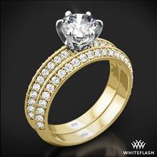 18k Yellow Gold with White Gold Head Knife-Edge Pave Diamond Wedding Set | Whiteflash