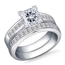 2.00 ct. tw. Princess Cut Matching Diamond Engagement Ring and Wedding Band Set in 14K White Gold | B2C Jewels