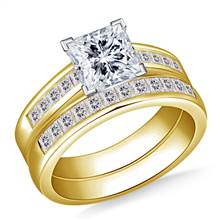 2.00 ct. tw. Princess Cut Matching Diamond Engagement Ring and Wedding Band Set in 14K Yellow Gold | B2C Jewels