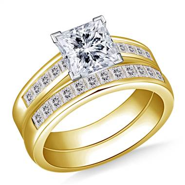 2.00 ct. tw. Princess Cut Matching Diamond Engagement Ring and Wedding Band Set in 14K Yellow Gold