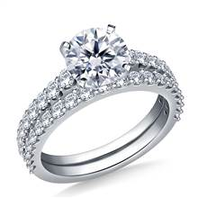2.00 ct. tw. Prong Set Graduated Diamond Matching Engagement Ring and Wedding Band in 14K White Gold | B2C Jewels