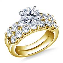 2.00 ct. tw. Prong Set Matching Diamond Engagement Ring and Wedding Band Set in 14K Yellow Gold | B2C Jewels