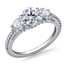 2.00 ct. tw. Round Diamond Three Stone Engagement Ring in 14K White Gold | B2C Jewels