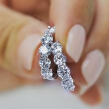 2.00CTW ROUND BRILLIANT CUT DIAMOND HOOP EARRINGS IN 14KT WHITE GOLD SHARED PRONG SETTING-E4825-IADD   I.D.Jewelry