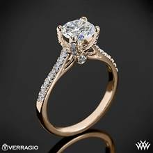 20k Rose Gold Verragio ENG-0371 4 Prong Petite Pave Diamond Engagement Ring | Whiteflash