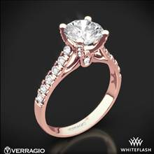20k Rose Gold Verragio ENG-0375 4 Prong Pave Diamond Engagement Ring | Whiteflash