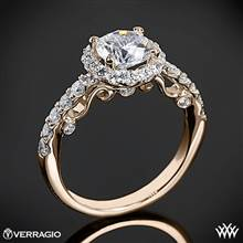 20k Rose Gold Verragio INS-7003 Half Eternity Halo Diamond Engagement Ring | Whiteflash