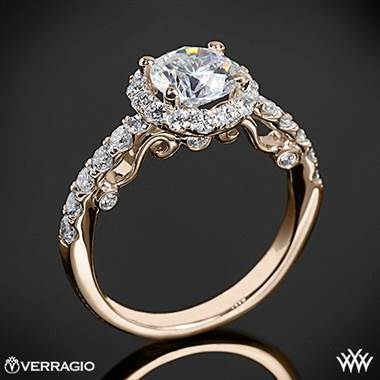 20k Rose Gold Verragio INS-7003 Half Eternity Halo Diamond Engagement Ring