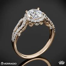 20k Rose Gold Verragio INS-7042R 4 Prong Round Halo Diamond Engagement Ring | Whiteflash