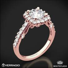 20k Rose Gold Verragio INS-7047 Cushion Halo Diamond Engagement Ring | Whiteflash