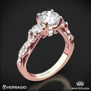20k Rose Gold Verragio INS-7055R Twisted Shank 3 Stone Engagement Ring