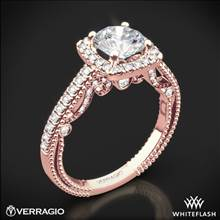 20k Rose Gold Verragio INS-7061CU Beaded Halo Diamond Engagement Ring | Whiteflash