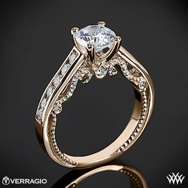 20k Rose Gold Verragio INS-7064R Beaded Channel-Set Diamond Engagement Ring
