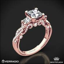 20k Rose Gold Verragio INS-7074P Beaded Braid Princess 3 Stone Engagement Ring | Whiteflash