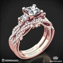 20k Rose Gold Verragio INS-7074P Braided 3 Stone Wedding Set for Princess | Whiteflash