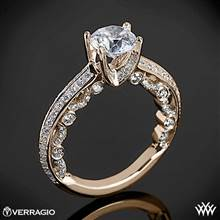 20k Rose Gold Verragio PAR-3001R Pave Knife-Edge Diamond Engagement Ring | Whiteflash