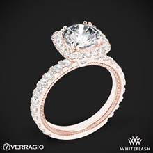 20k Rose Gold Verragio Tradition TR210HCU Diamond Cushion Halo Engagement Ring | Whiteflash
