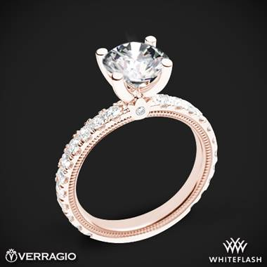 20k Rose Gold Verragio Tradition TR210R4 Diamond 4 Prong Engagement Ring